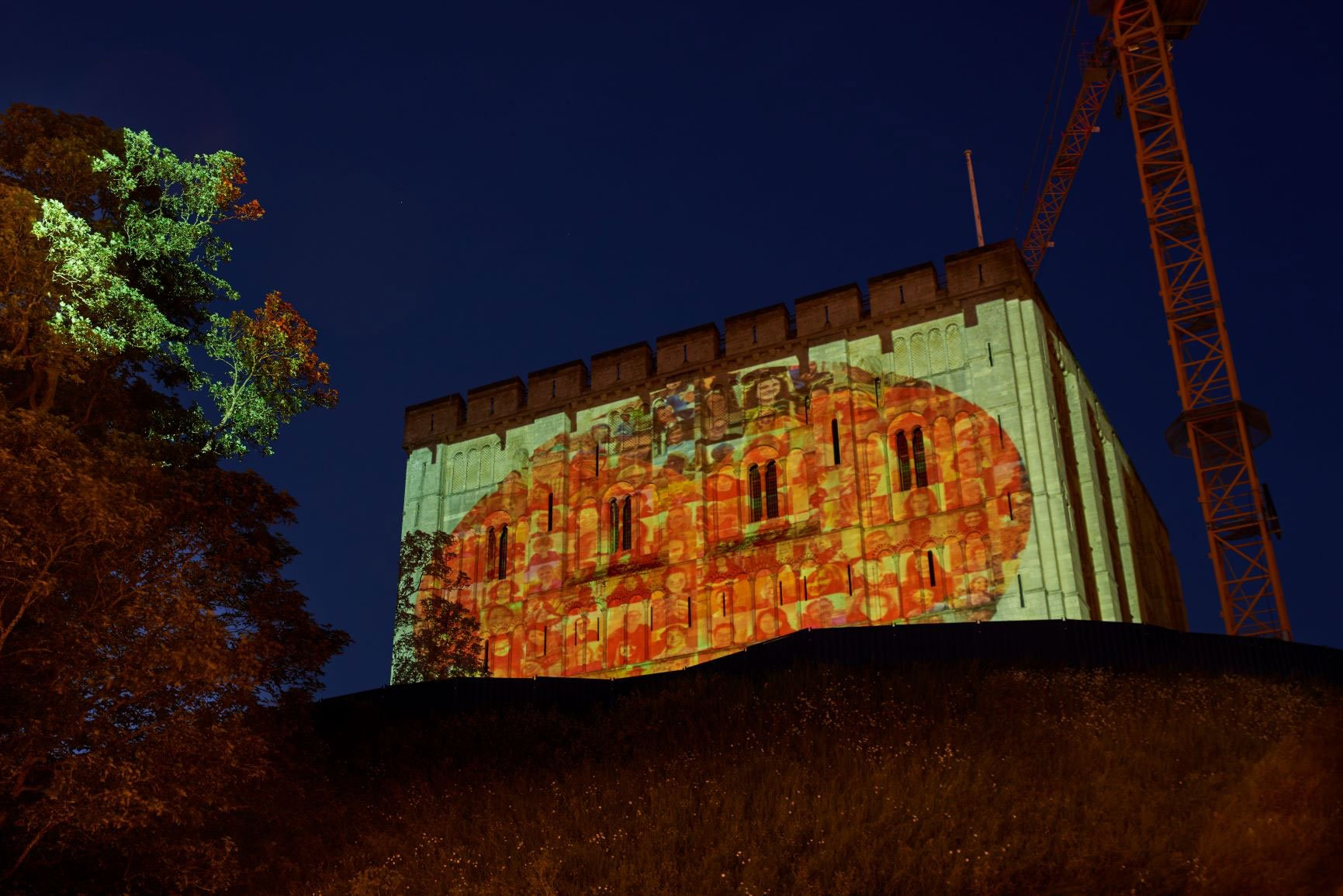 Picture of heart projected on Norwich Castle